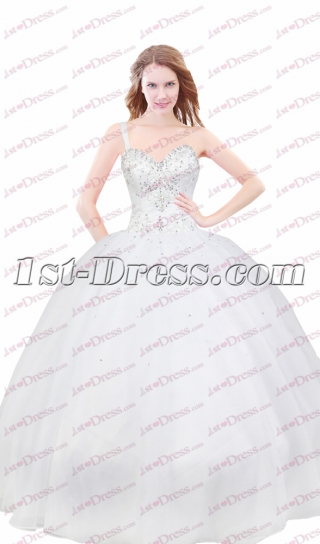 Charming Ivory Formal One Shoulder Court Dresses for Sweet 15