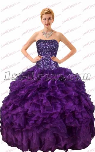 Pretty Purple Ruffled Quinceanera Dresses 2017