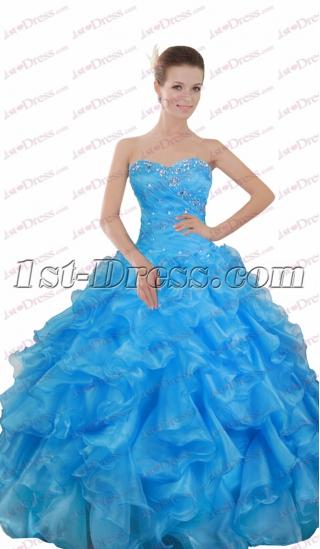 Pretty Sweetheart Blue Ruffle Ball Gown 2017