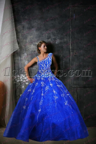 Royal Blue One Shoulder Quinceanera Dress 2017