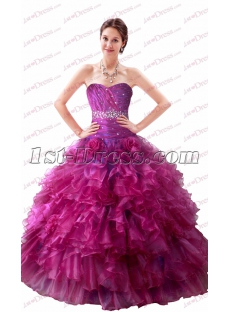 Beautiful Strapless Fuchsia Quinceanera Dresses 2017