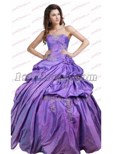 Beautiful Strapless Pick up Lavender Quinceanera Dresses