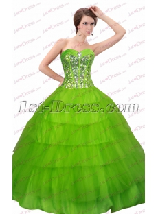 Best Green Jeweled 2017 Quince Gown Dresses