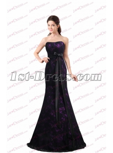 Charming Black & Purple Lace Sheath Prom Dress