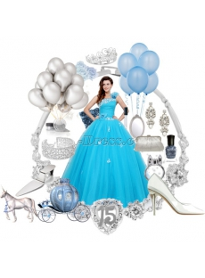 Charming Blue Festa de Quinze Anos Dress with One Shoulder
