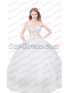 Charming Ivory Formal One Shoulder Court Dresses for Sweet 15