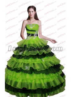 Lovely Black and Green Quinceanera Dress for 2017