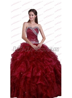 New Sweetheart Quinceanera Dresses Burgundy