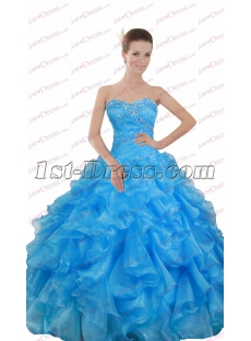 Pretty Sweetheart Blue Ruffle Ball Gown 2017