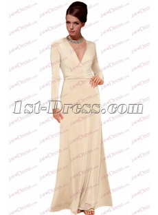Simple Champagne Long Sleeves Vintage Evening Dress with V-neckline