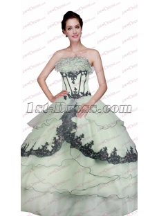 Unique Sage and Black Ball Gown for Sweet 15