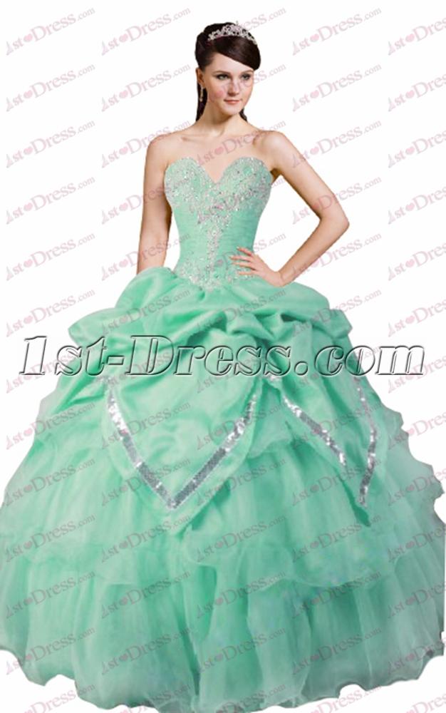 2017 Sweet Mint Green Quinceanera Gown:1st-dress.com