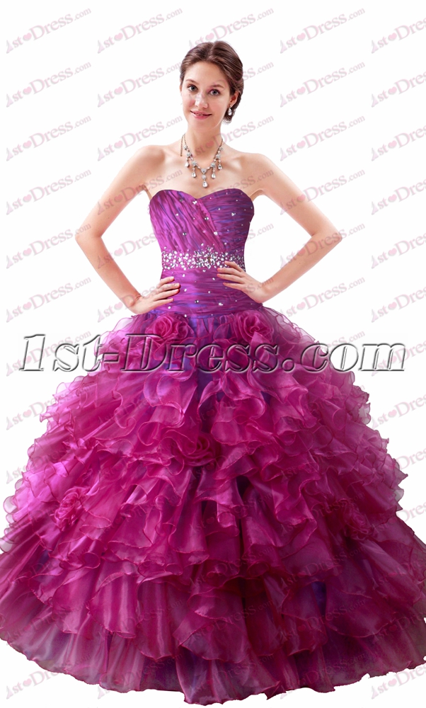 Beautiful Strapless Fuchsia Quinceanera Dresses 2017 1st