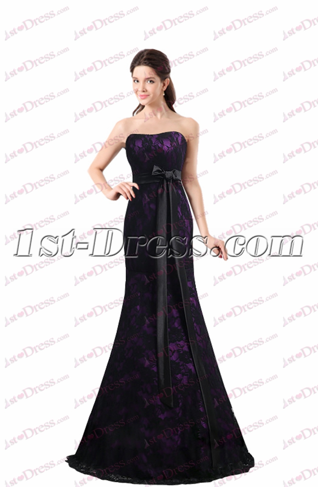Charming Black & Purple Lace Sheath Prom Dress:1st-dress.com