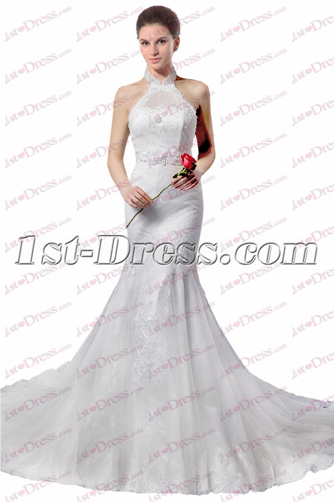 Lace Halter Sheath Wedding Dress