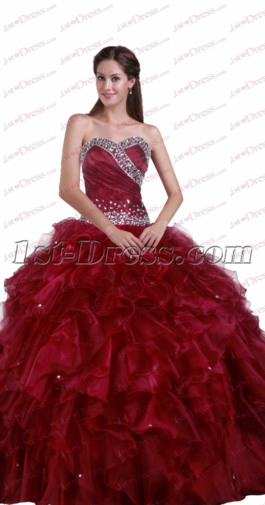 New Sweetheart Quinceanera Dresses Burgundy1st Dress
