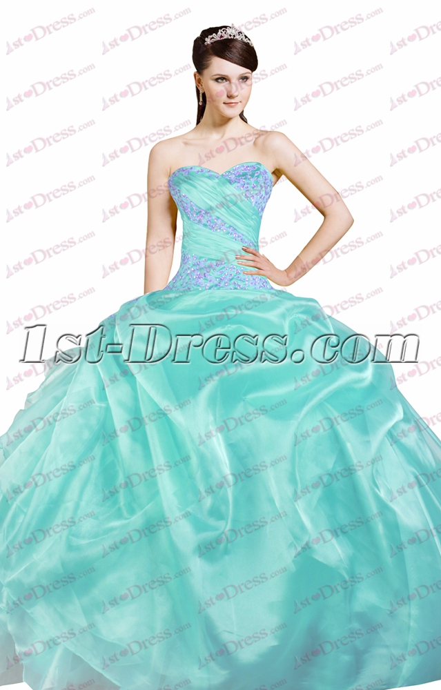 Pretty Puffy 15 Quinceanera Dresses Blue1st Dress