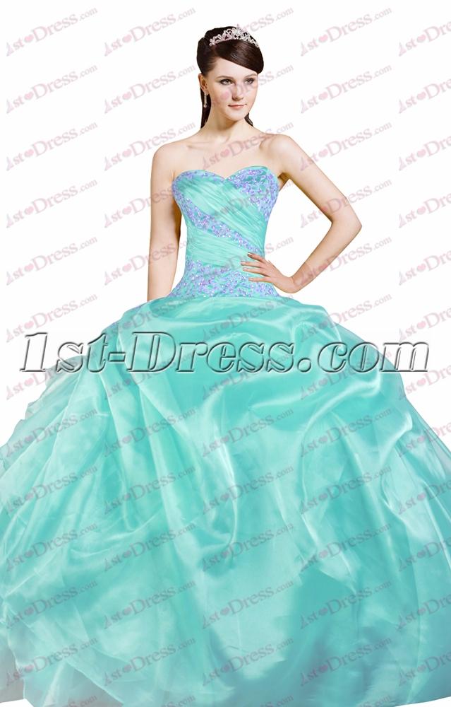Pretty Puffy 15 Quinceanera Dresses Blue1st Dress