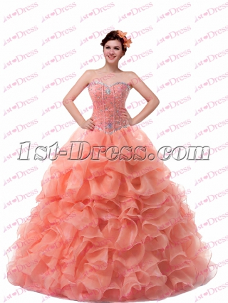 Beautiful Coral Sweetheart 2017 Quince Gown