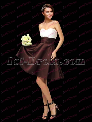Beautiful White and Chocolate Satin Maid of Honor