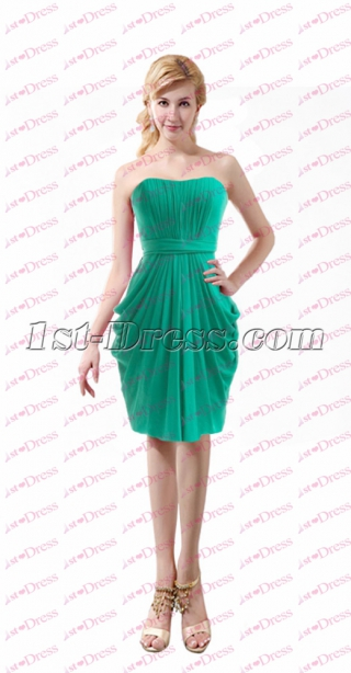 Elegant Green Chiffon Short Mother of Bride Dress