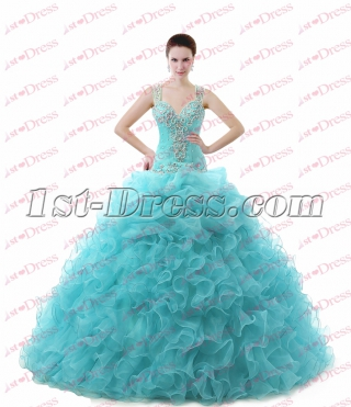 Luxurious Straps Drop Waist Ruffle Ball Gown 2017