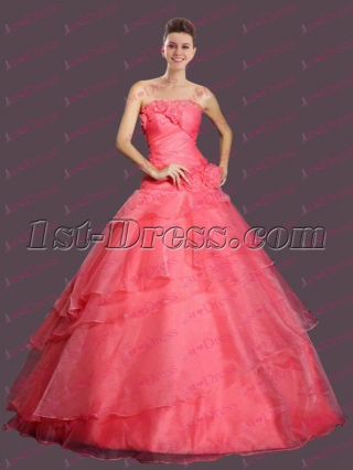 Romantic Coral 2017 Quinceanera Ball Gown Dress