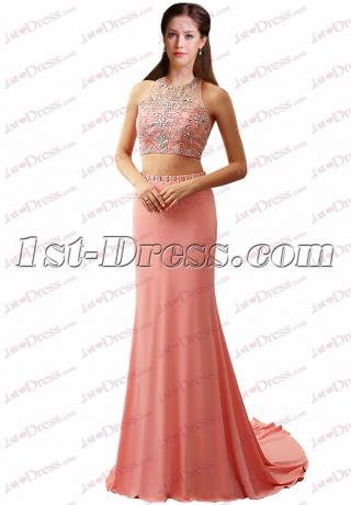 Sexy 2 Pieces Beading Pretty Prom Dress 2017
