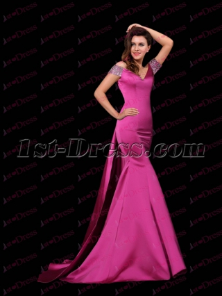 Sexy Sheath Fuchsia V-neckline Celebrity Dress with Train
