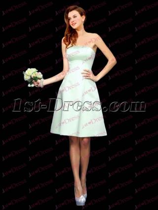Simple Sky Blue Satin Short Bridesmaid Gown