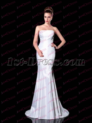 Simple White Mermaid Long Evening Dress 2017