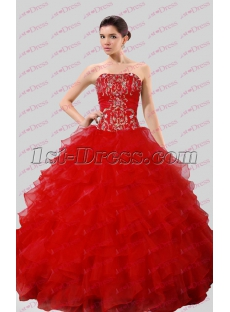 2016 Gothic Red Embroidery Ball Gown Wedding Dress