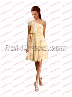 Charming Yellow Chiffon One Shoulder Short Prom Dress