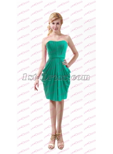 Elegant Green Chiffon Short Mother of Bride Dress