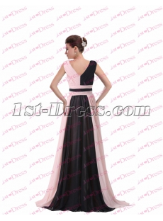 Elegant V-neckline Black and Pink Evening Dress