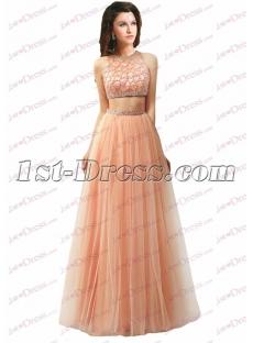 Pretty 2 Pieces Coral Prom Dress 2016