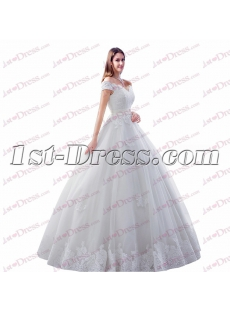 Romantic Full Length Off Shoulder Ball Gown Wedding Dress