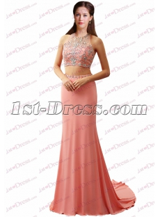 Sexy 2 Pieces Beading Pretty Prom Dress 2017