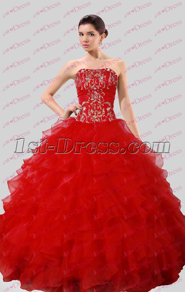2016 Gothic Red Embroidery Ball Gown Wedding Dress:1st-dress.com