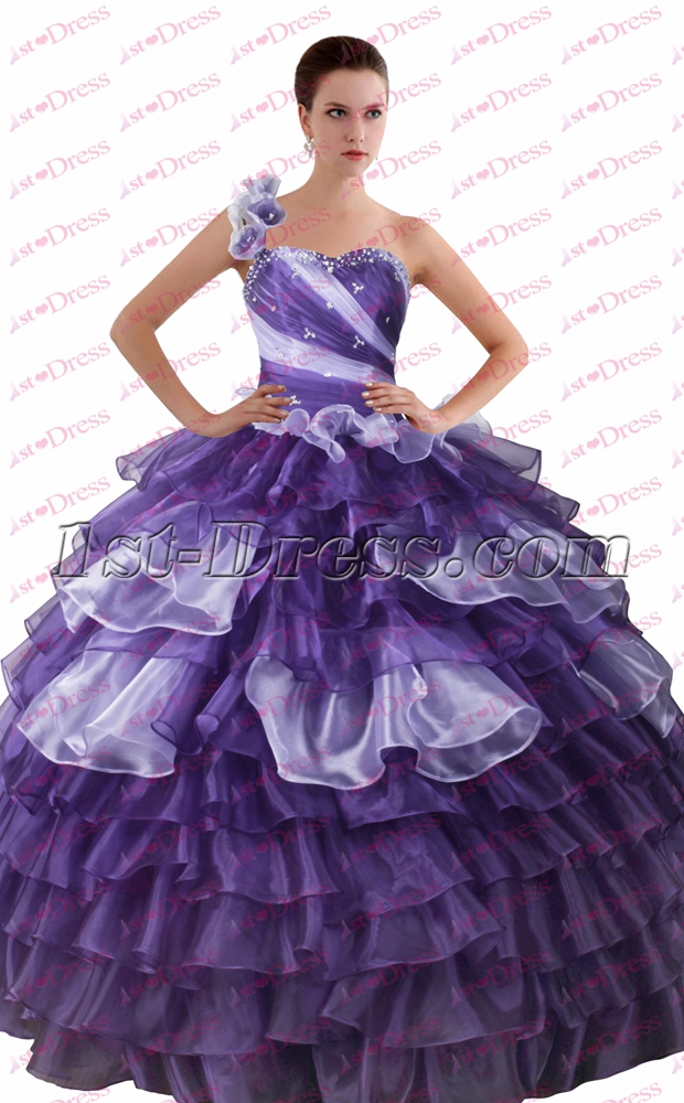 Charming Purple And Lilac One Shoulder Quinceanera Gown