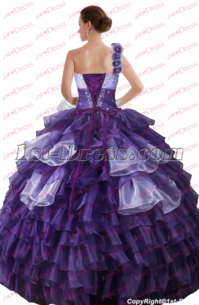 b34b67139ee Charming Purple and Lilac One Shoulder Quinceanera Gown 2017 1st-dress.com
