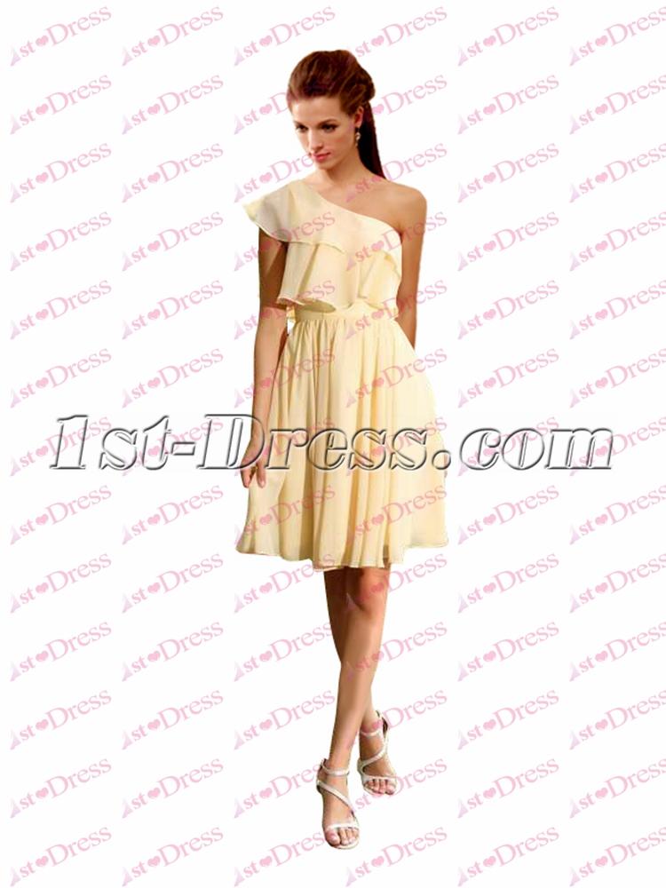 Charming Yellow Chiffon One Shoulder Short Prom Dress:1st-dress.com