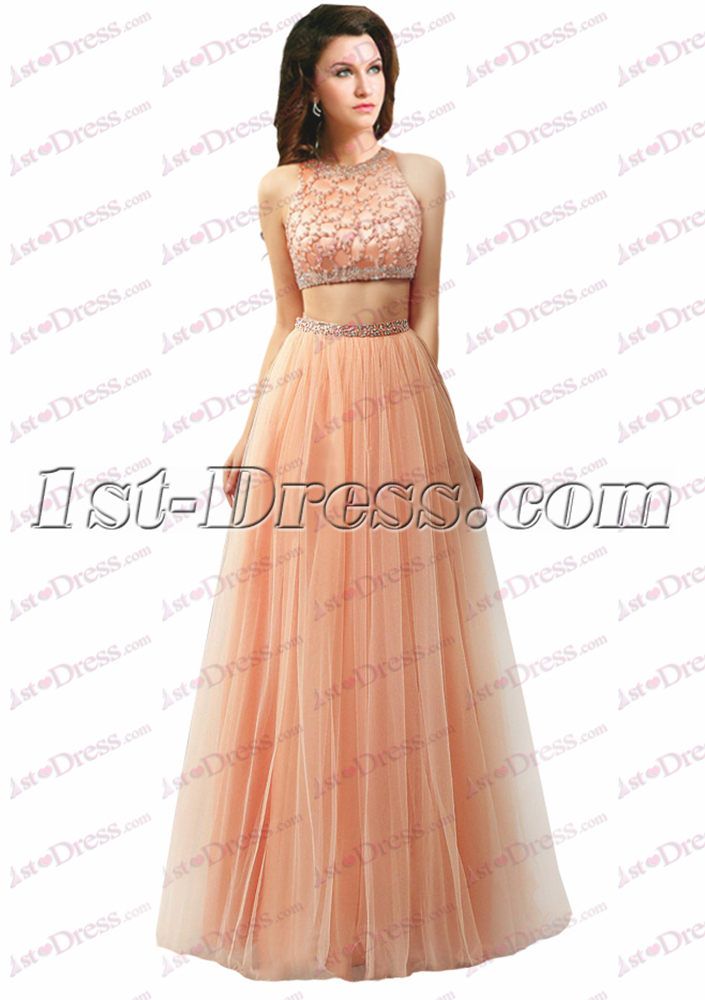 Pretty 2 Pieces Coral Prom Dress 2016:1st-dress.com
