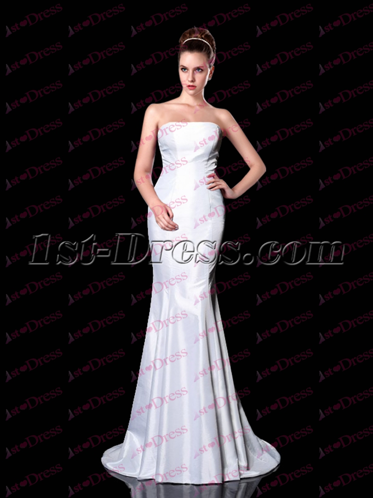 Simple White Mermaid Long Evening Dress 2017 173 00