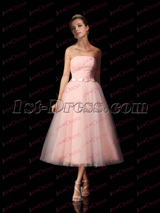 Chic Pink Tea Length Prom Dress 2017