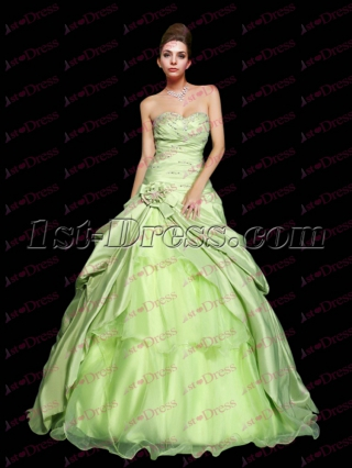 Pretty Drop Waist Sage Princess Sweet 15 Ball Gown