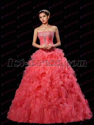 Romantic Peach Ruffles Quinceanera Dress 2017