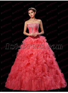 Romantic Peach Ruffles Quinceanera Dress 2017