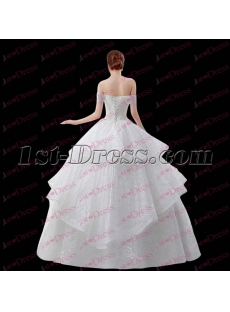 Simple White Off Shoulder Ball Gown Party Dress