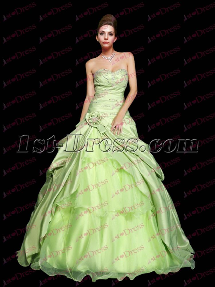 38419102bbc Pretty Drop Waist Sage Princess Sweet 15 Ball Gown 1st-dress.com